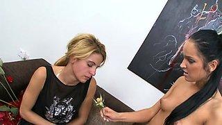 Lesbian femdom encounter on the couch