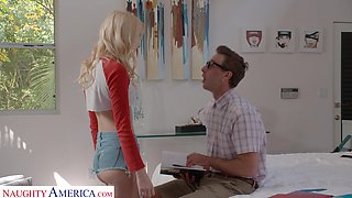 Svelte blonde cowgirl with sexy slim legs Kenna James is into riding dick