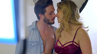 Babe with beautiful bosom Giselle Palmer seduces one of her client