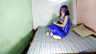 Indian Aunty Anita Singh In Blue Desi Dress Fingering Pussy
