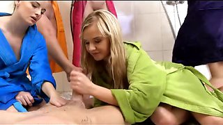Girls tease a CFNM cock in the shower