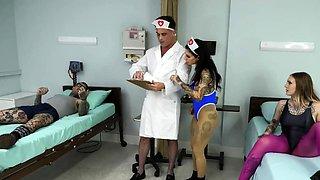 Bisex foursome with alternative nurses
