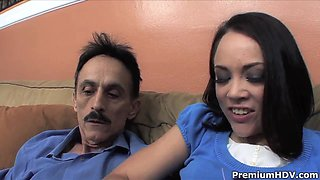 Young babe Kristina Rose rides on mature fucker