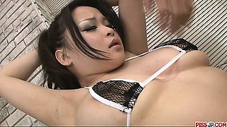 Petite and busty porn babe in bikini fondled and toyed