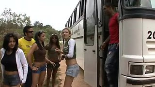 Brazilian fuckfest bang in a voyage bus and then public