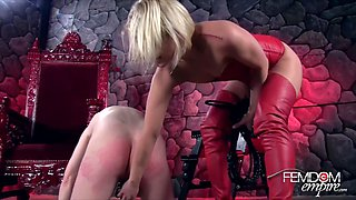 Cute Mistress in Red Leather Tigh High Boots Have Fun With Slave