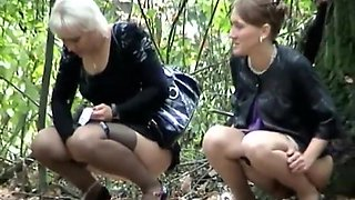 Hot group of women caught pissing
