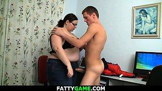 Big belly fat teacher seduces her student into sex