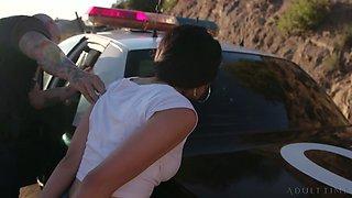Arrested bitch Gina Valentina deserves some really brutal mouth fuck