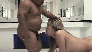 Irresistible blonde Latina giving a horny midget a wonderful blowjob