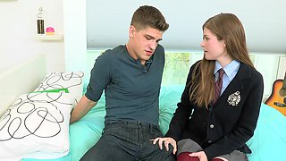 A hot blonde with long hair is with her tutor, getting her pussy fucked