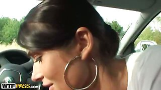 Couple sex outdoors by the car
