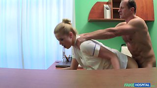 Hot blonde nurse warms up to the angered doctor she works for