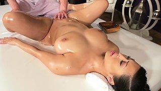 Massage Rooms Natural tits Asian beauty has orgasms
