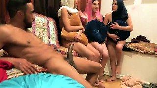 Redhead orgy Hot arab damsels attempt foursome