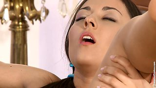 Student girl Iwia teaches best friend how to kiss boys and gets horny
