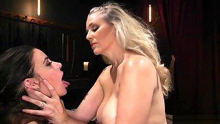 Busty Milf domina spanks lesbian slave