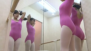 Petite Asian doll wraps herself in ballet tricot on spy cam