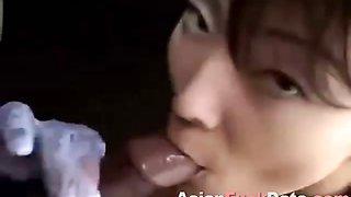 Asian new wife drinking sperm