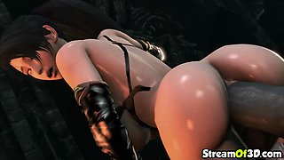 Nice tits 3D babe fucked by alien cock