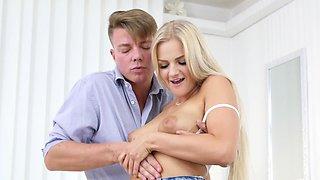 Swanky Czech blonde moans sweetly because of boyfriend's big cock