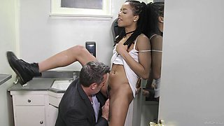Ebony teen Kira Noir gives an older white guy some brown sugar