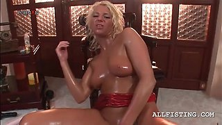 Dirty  blonde  bitch on heels fisting her oily cunt