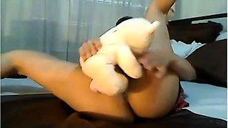 Sweet brunette teen drills her honey hole with a big dildo