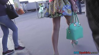 Upskirt vid made in public shows redhead in g-string