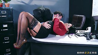 Sexy brunette Kiara Mia and her strict boss John Strong