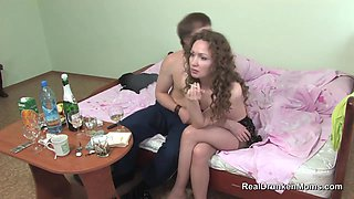 Russian Drunk Mature Kira Fucks In Stockings With Younger Guy