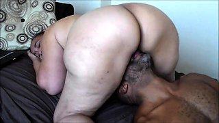 Fat mature brunette fucks a big black dick every way she can