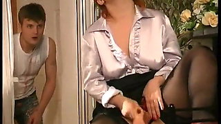 Russian horny redhead mature fuck with stepson