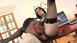 Slutty brunette secretary Aj swallows cum at the office