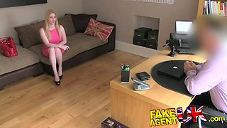 FakeAgentUK: Blonde Scottish beauty with bouncy breasts pleasures agent