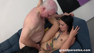 Old dude fucks his wife and a cute younger babe one by one