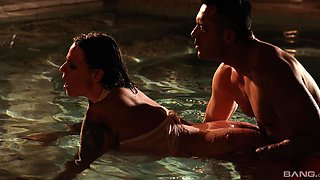 Romantic lovemaking in the pool with cock hungry Simony Diamond