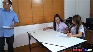 Thai student ladyboy fucks her female classmates pussy