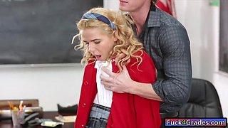 Cute schoolgirl Alina West banged on desk by her teacher