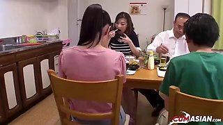 Japanese family fucking in the kitchen