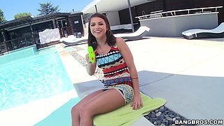 Reverse ride in anal scenes by the pool
