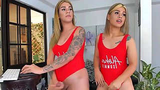 Sexy Shemale Babes Jerking while in Swimsuit