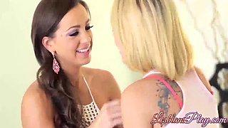 Cute lesbians Abigail Mac and Zoey Monroe having sexy fun