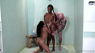 Interracial threesome between a white guy and Kira Noir & Daya Knight