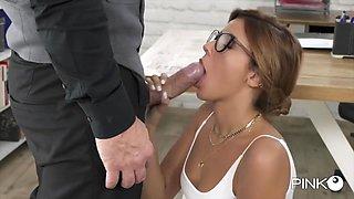 Skinny Latina Secretary Agatha Opens Her Backdoor For Her Boss